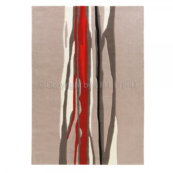 tapis red trace beige et rouge arte espina tufté main