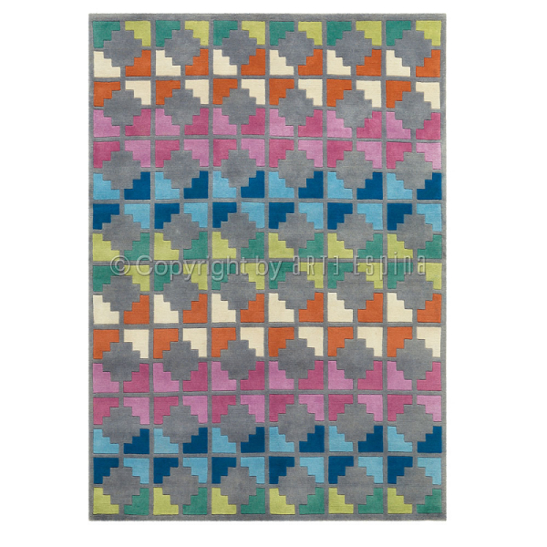 tapis freestyle motif damier multicolore arte espina en laine