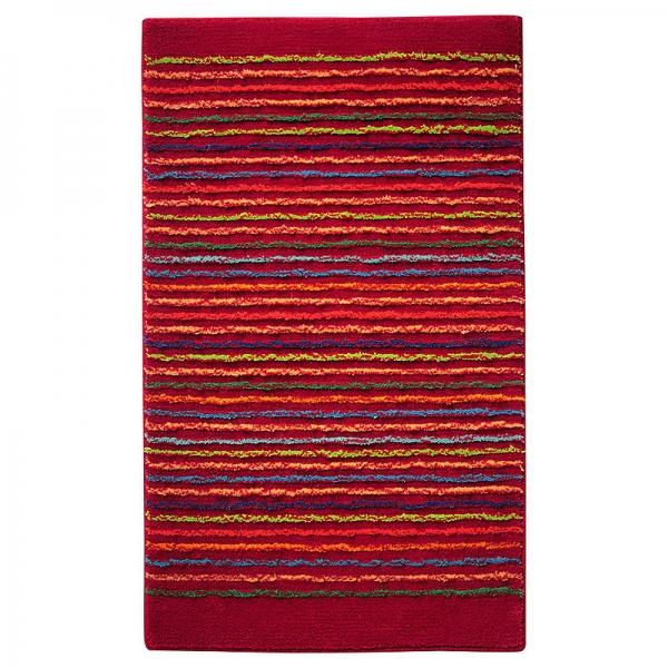 tapis de bain esprit home cool stripes rouge