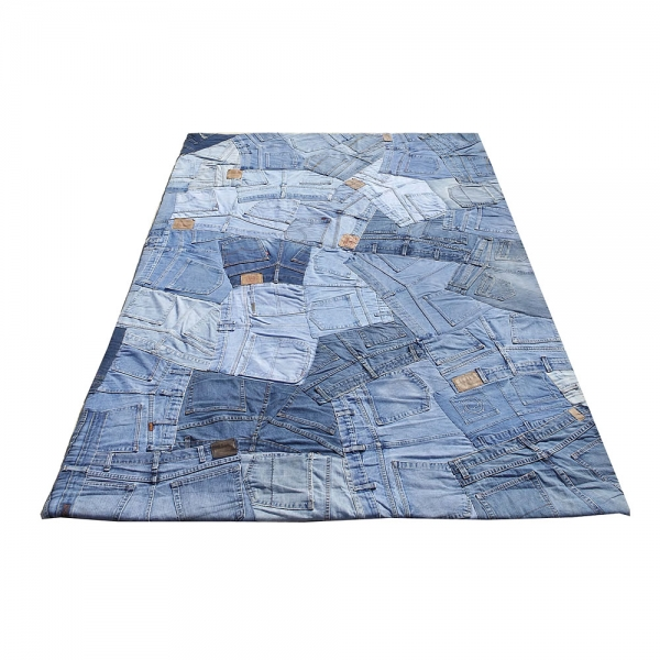 tapis en jean back bleu carving