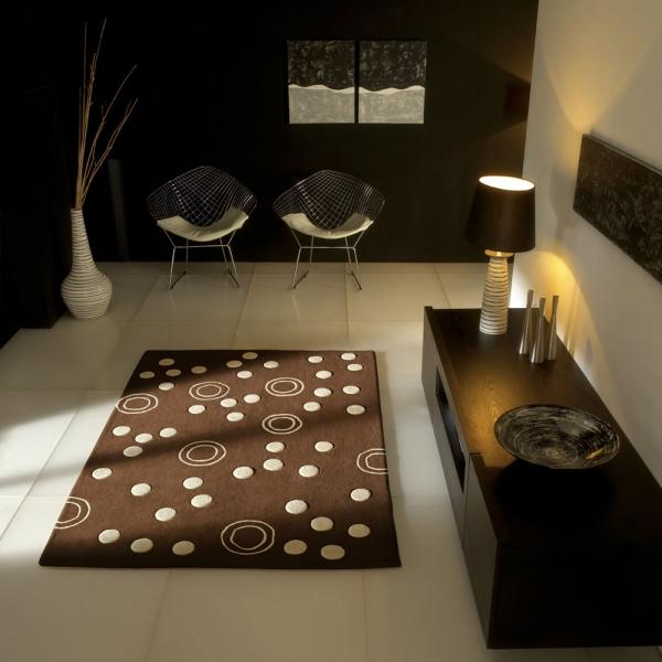 tapis moderne mist en laine marron carving