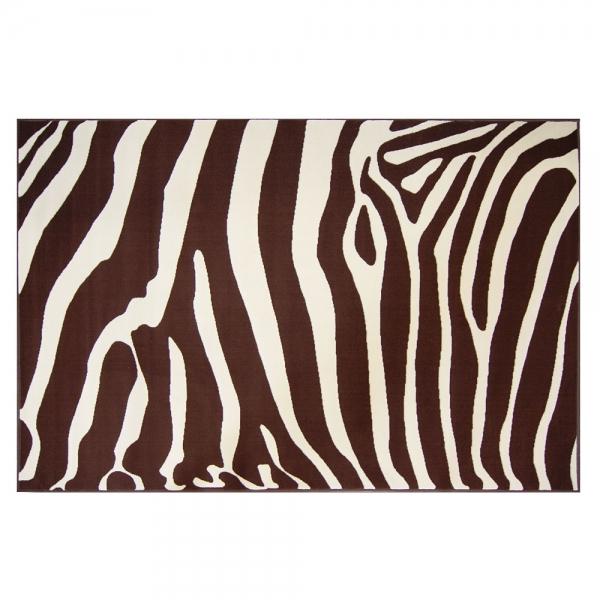 tapis design zebra chocolat et beige 120x170. Black Bedroom Furniture Sets. Home Design Ideas