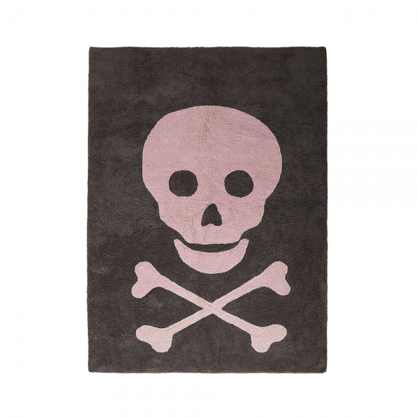 tapis enfant skull dark gris et rose lorena canals 120x160. Black Bedroom Furniture Sets. Home Design Ideas