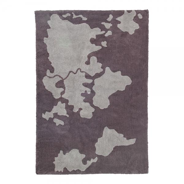 tapis enfant world map gris lorena canals
