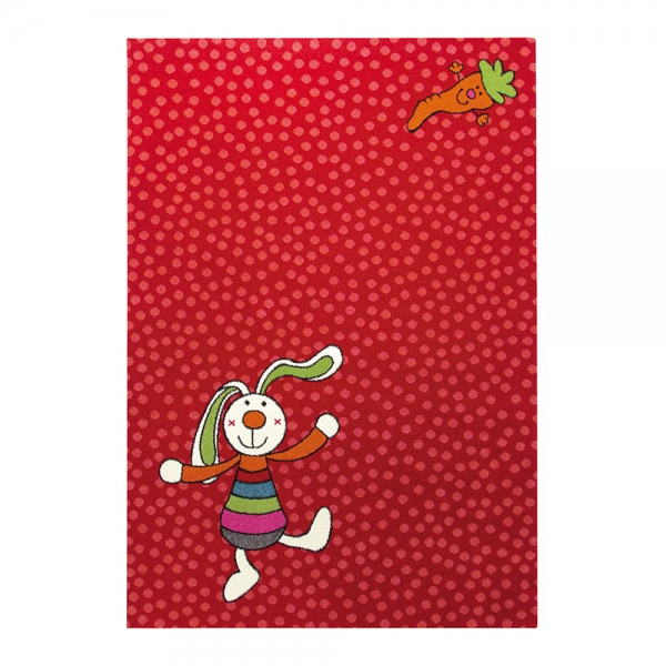 tapis enfant rainbow rabbit rouge sigikid