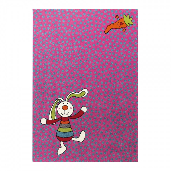 tapis enfant rainbow rabbit sigikid rose