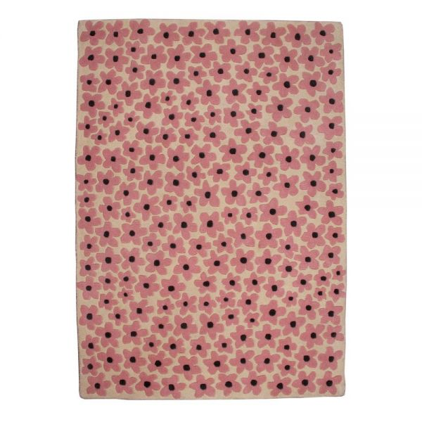 tapis enfant en laine flower rose lorena canals 140x200. Black Bedroom Furniture Sets. Home Design Ideas