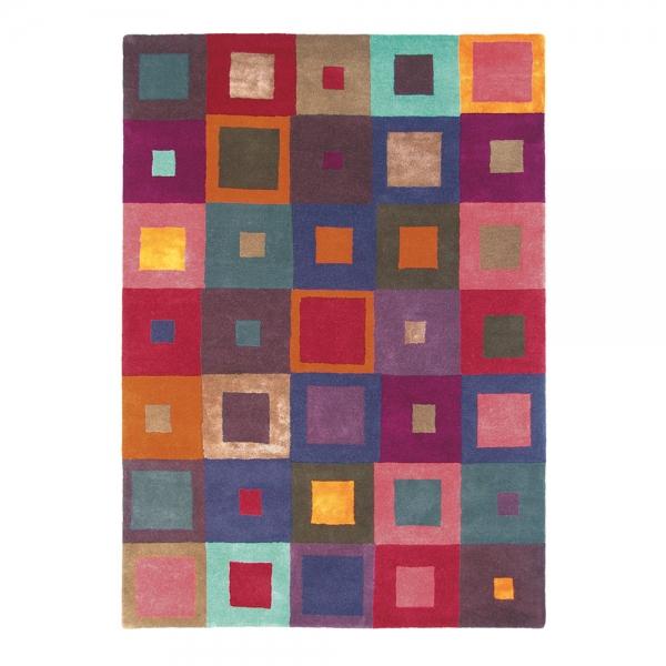 tapis estella carre pure laine brink & campman multicolore