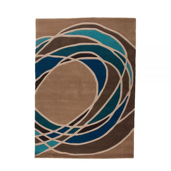 tapis moderne taupe et bleu spectre flair rugs 120x170. Black Bedroom Furniture Sets. Home Design Ideas