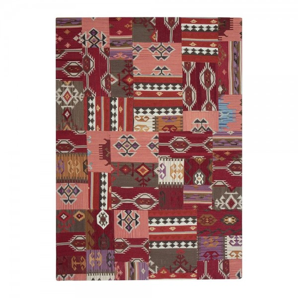 tapis kilim en laine rouge enjoy ligne pure 170x240. Black Bedroom Furniture Sets. Home Design Ideas