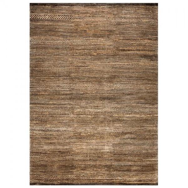 tapis laine nou main marron reflect ligne pure 140x200. Black Bedroom Furniture Sets. Home Design Ideas
