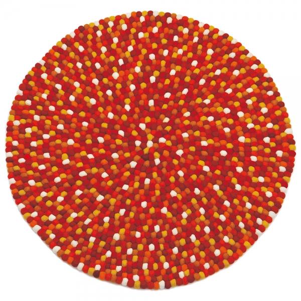 tapis enfant boules de laine karma orange lilipinso