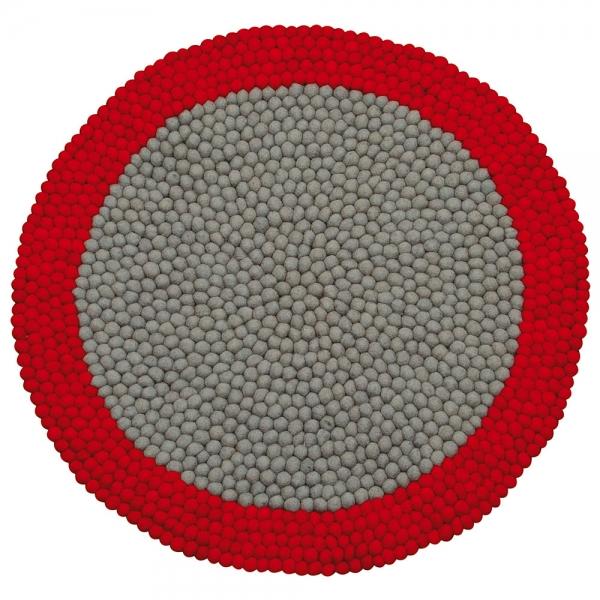 tapis enfant boules de laine neomix rouge lilipinso