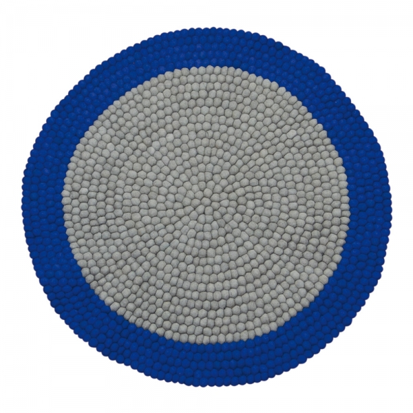 tapis enfant boules de laine neomix bleu lilipinso