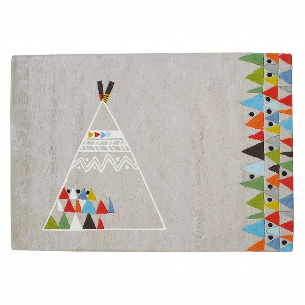 tapis enfant coton teepee gris lilipinso 120x170. Black Bedroom Furniture Sets. Home Design Ideas