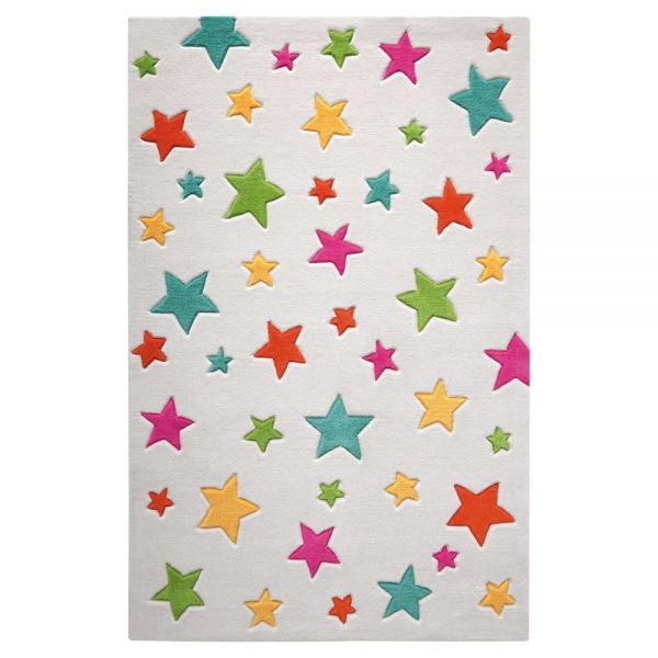 tapis enfant tufté main multicolore simple stars smart kids