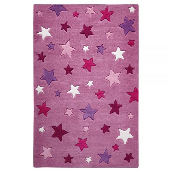 tapis enfant tufté main rose simple stars smart kids