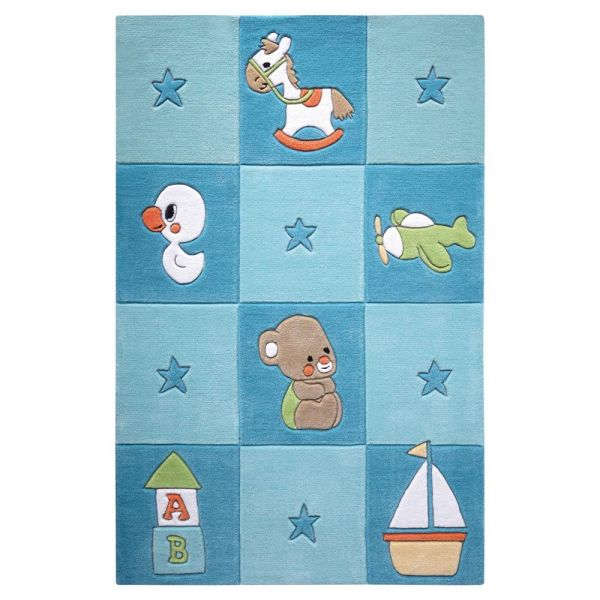 tapis enfant bleu newborn smart kids tufté main