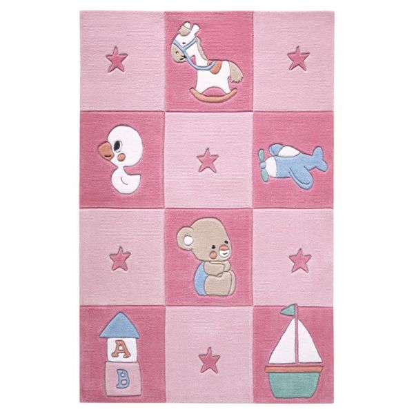 tapis enfant smart kids tufté main newborn rose