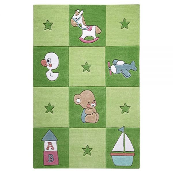 tapis enfant smart kids tufté main newborn vert