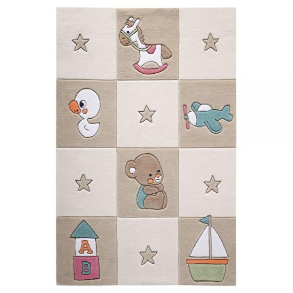 tapis enfant smart kids tufté main newborn marron