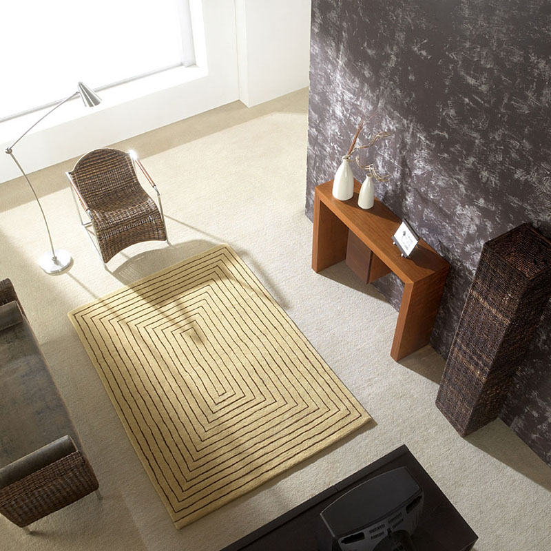 tapis en laine beige tridimensional carving 140x200. Black Bedroom Furniture Sets. Home Design Ideas