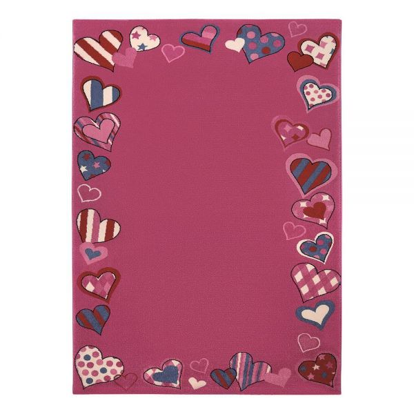 tapis fille rose just hearts wecon 160x225. Black Bedroom Furniture Sets. Home Design Ideas
