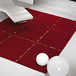 tapis christopher carving en laine rouge