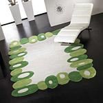 tapis filbert carving en laine vert et blanc