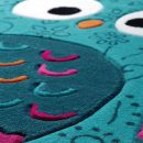 Tapis enfant Littel Owl Smart Kids bleu