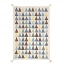 tapis pour enfant art for kids triangle tissé main en laine bleu