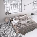 Tapis moderne Zebra bleu et blanc Wecon