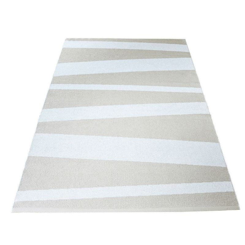 Tapis de couloir are ray blanc et beige sofie sjostrom design 70x100 for Tapis raye noir beige