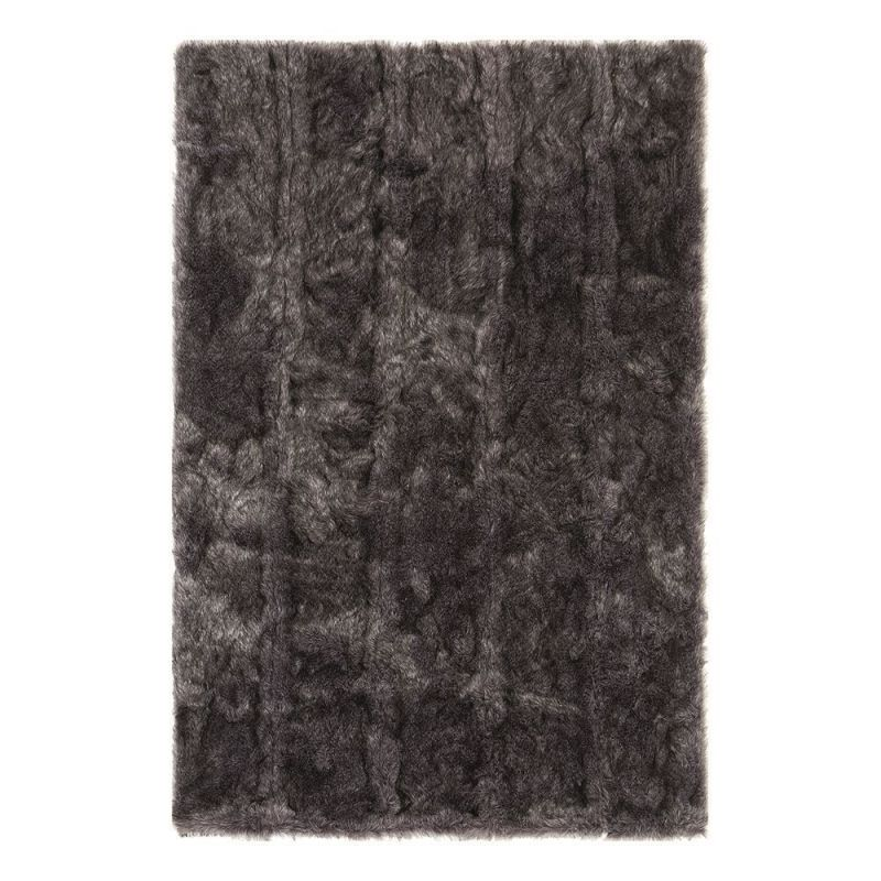 tapis shaggy ligne pure uni noir pelle 128 x 200. Black Bedroom Furniture Sets. Home Design Ideas