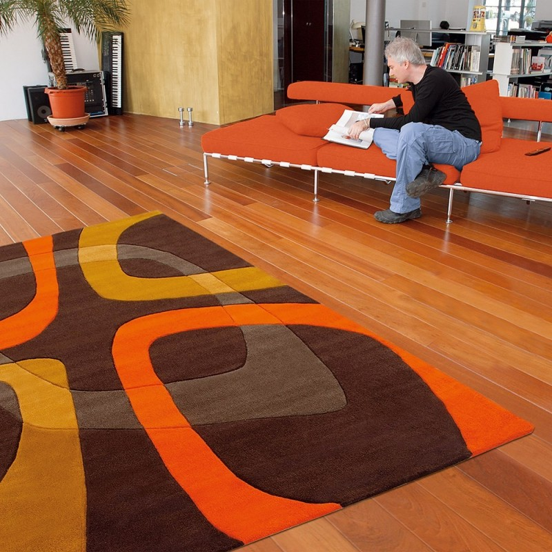 Tapis marron et orange arte espina showtime 90x160 for Tapis orange salon