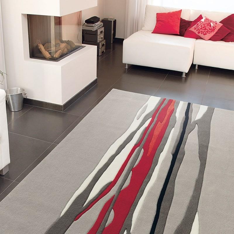 tapis red trace beige et rouge arte espina tuft main 70x140. Black Bedroom Furniture Sets. Home Design Ideas