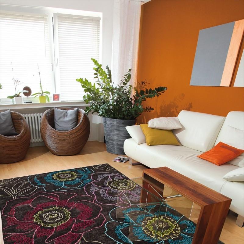 tapis floral tropical passion marron arte espina 70x140. Black Bedroom Furniture Sets. Home Design Ideas