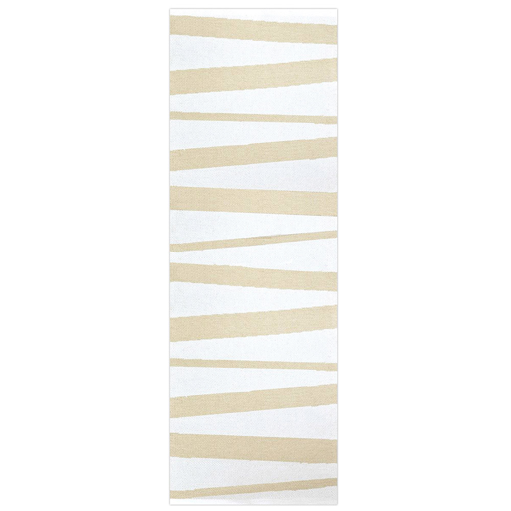 Tapis de couloir sofie sjostrom design are ray blanc et beige 70x300 for Tapis raye noir beige