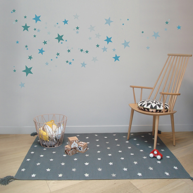 tapis pour enfant art for kids etoiles gris 140x200. Black Bedroom Furniture Sets. Home Design Ideas