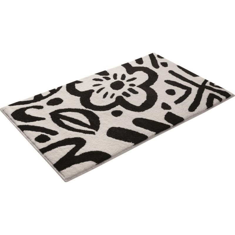 tapis de bain noir et blanc esprit cool flower 55x65. Black Bedroom Furniture Sets. Home Design Ideas