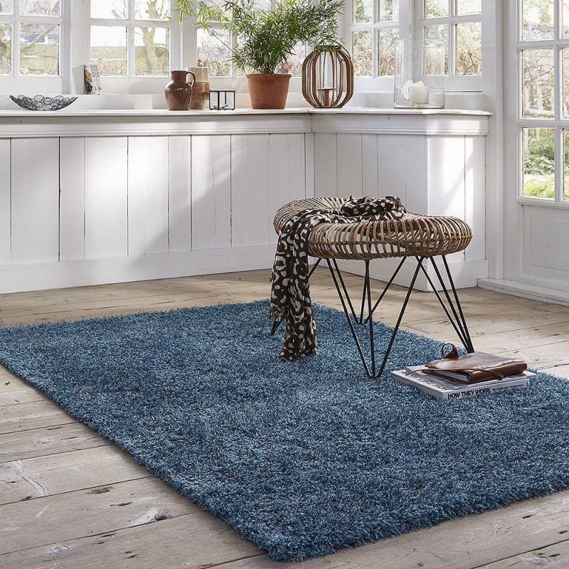 tapis shaggy bleu esprit home cosy glamour 200x200. Black Bedroom Furniture Sets. Home Design Ideas
