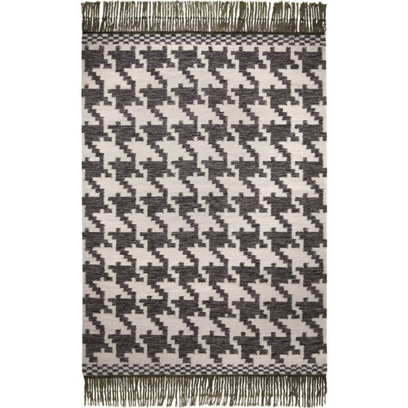 tapis moderne houndstooth noir et blanc 60x110. Black Bedroom Furniture Sets. Home Design Ideas