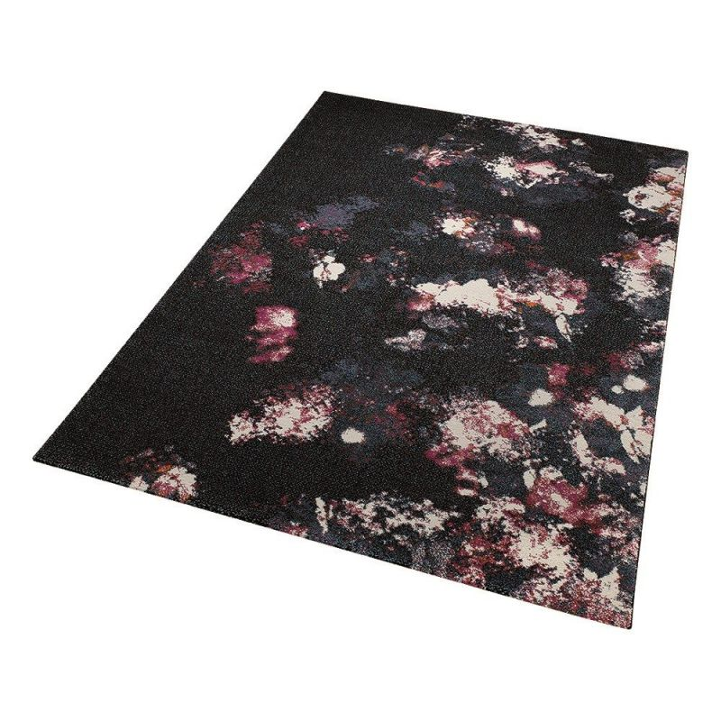 tapis nocturnal flowers noir moderne esprit home 160x225. Black Bedroom Furniture Sets. Home Design Ideas