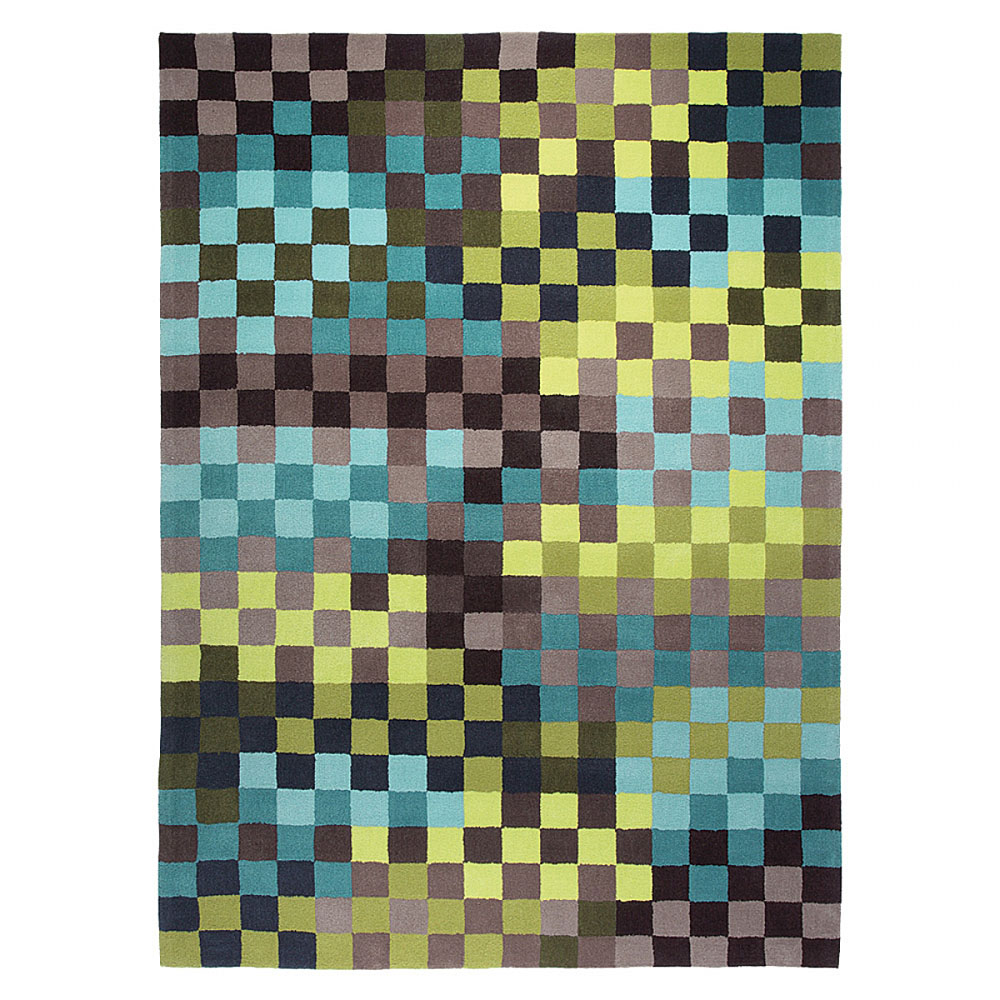 tapis pixel moderne bleu et vert esprit home 200x300. Black Bedroom Furniture Sets. Home Design Ideas