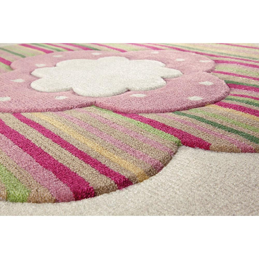tapis flower shape rond beige esprit home 100x100. Black Bedroom Furniture Sets. Home Design Ideas