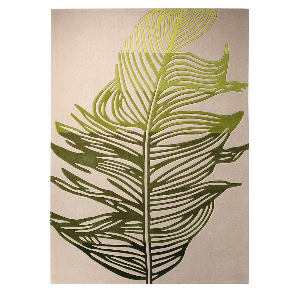 tapis moderne beige et vert feather esprit home 140x200. Black Bedroom Furniture Sets. Home Design Ideas