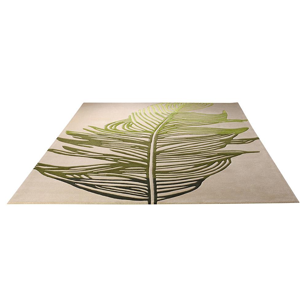 tapis feather beige et vert esprit home moderne 70x140. Black Bedroom Furniture Sets. Home Design Ideas