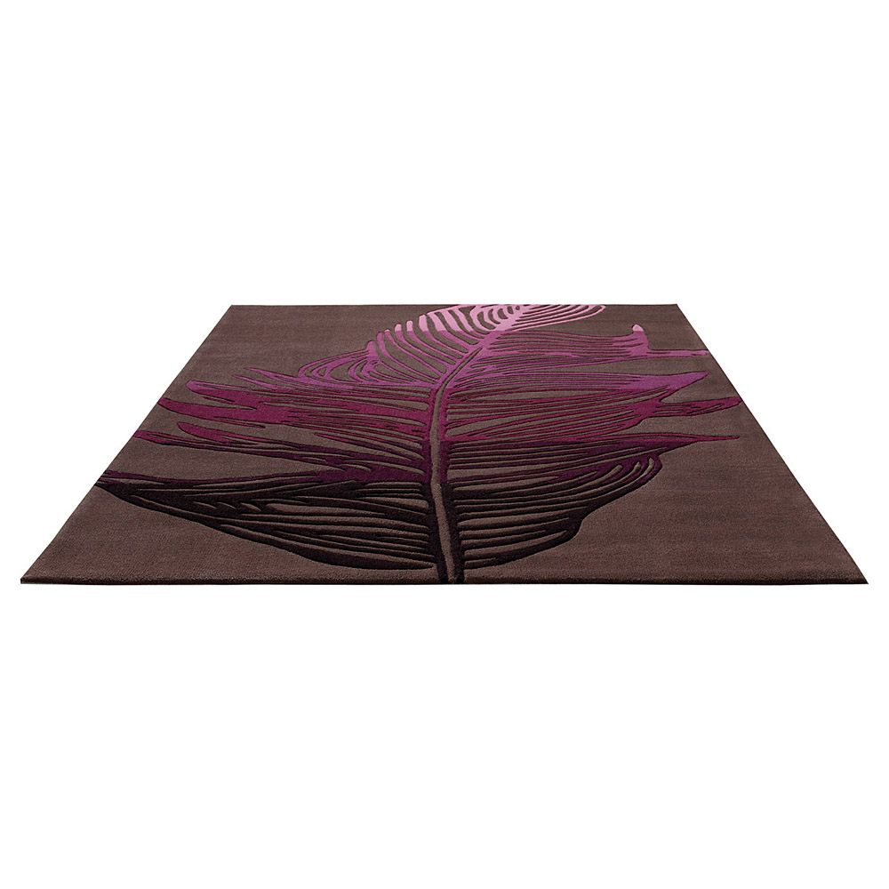 Tapis Moderne Taupe Et Rose Esprit Home Feather 70x140