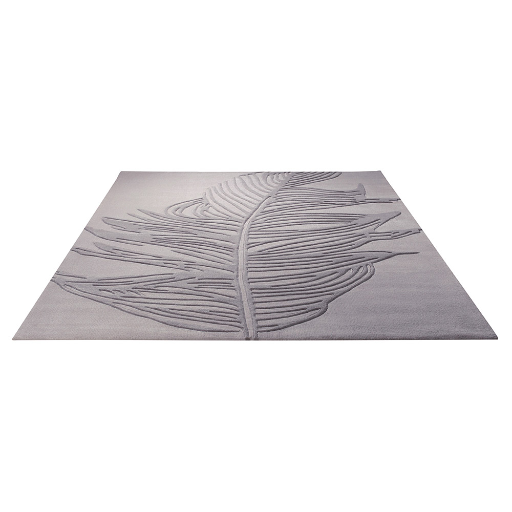 tapis moderne gris feather esprit home 200x200. Black Bedroom Furniture Sets. Home Design Ideas