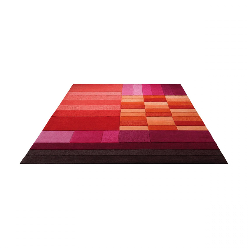 tapis carr various box rouge et orange esprit home 200x200. Black Bedroom Furniture Sets. Home Design Ideas